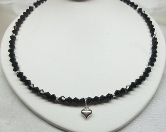 Black Crystal Necklace Sterling Silver Heart Necklace Jet Black Necklace Adjustable Necklace 925 Sterling Silver Necklace BuyAny3+1 Free