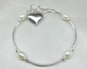 Girls Pearl Bracelet White Pearl Bracelet Baby Heart Bracelet or Ankle Bracelet 925 Sterling Silver or Plate Gift For Her BuyAny3+Get1 Free