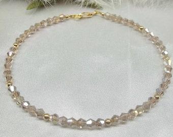 Champagne Bracelet Crystal Bracelet 14k Gold Filled Bracelet Bracelet With Swarovski Elements BuyAny3+Get1 Free