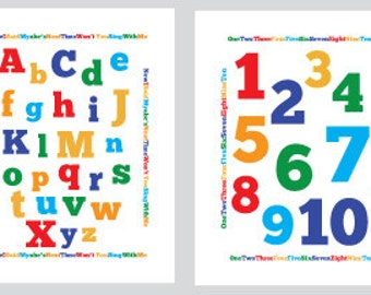 Alphabet and Number, ABC and 1,2,3's for kids nursery or playroom- printable wall art-