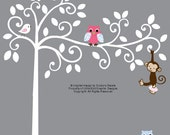 White jungle nursery wall decal tree set with monkey, birds and owls