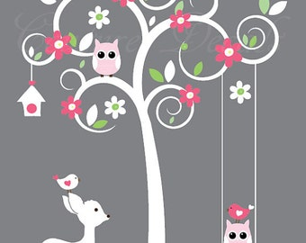 White tree wall decal with owls, birds, deer and swing vinyl wall decal stickers - 0190