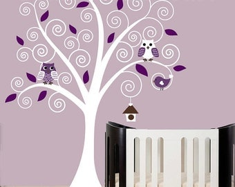 Children wall decals - swirl tree wall decal purple and white tree wall decal - 0148