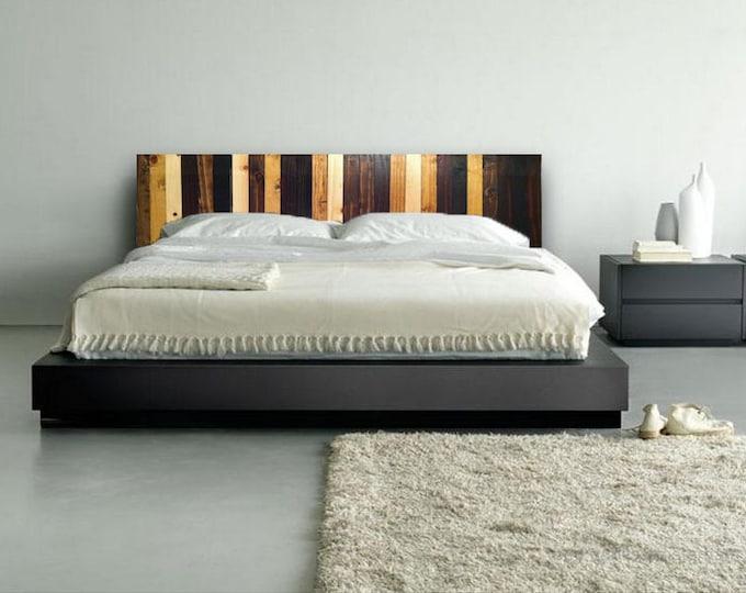 Stained Wood Stripe Headboard - Modern Wood Wall Art - Abstract Wood Art- Rustic Wood Sculpture