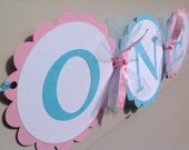 First Birthday High Chair Banner ONE Light Pink and Light Aqua