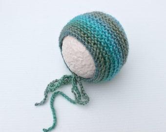 newborn bonnet hat,newborn photography prop, blue green striped knitted baby girl bonnet hat,newborn photo prop