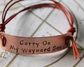 Supernatural Inspired Handstamped Bracelet 'Carry on my wayward son'