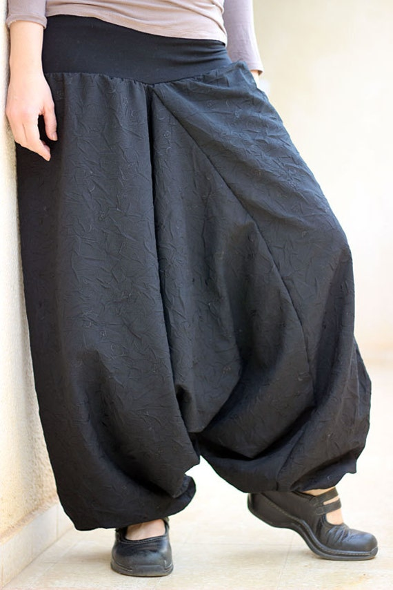 Women's Black Harem pants. Drop crotch trousers wide leg