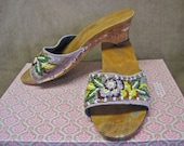 SALE Beaded Sandals Vintage 70s Asian Floral Carved Wood Heels Mauve Linen Beaded Flowers SIZE 7 to 8  Festival Slides Slip Ons As Is