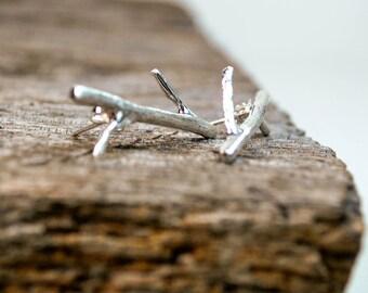Twig Earrings - Twig Post Earrings - Fine Silver Twig Earrings - Organic Earrings - Nature Inspired Earrings
