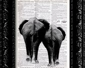 Elephant Butts Print - Elephant Couple In Love - Vintage Dictionary Print Vintage Book Print Page Art  Book Art