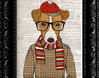Illustration, Hipster Geeky Dog, DICTIONARY Print, art poster, Hipster Nerd Dog Hat Scarf, Book pages, Dorm decor, Gift poster, Wall decor