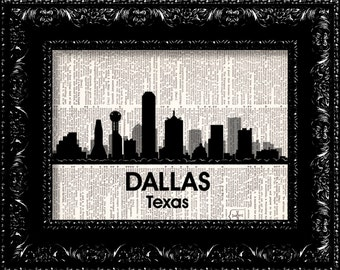 Dallas Texas Skyline City Map -  Dallas City Love Map - Vintage Dictionary Print Vintage Book Print Page Art  Vintage Book Art