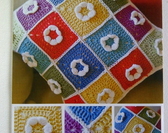 Colourful Cushion Cover Crochet Pattern - Patchwork & Flower Design - DMC