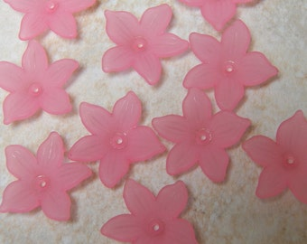 21mm Frosted Pink Clematis Flower Beads, 10 PC