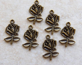 26mm Antique Bronze Rose Charm Pendants, 6 PC (INDOC173)