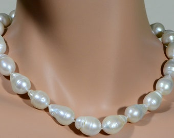 Pearl Necklace Baroque Pearl Freshwater Pearl 18x13.4mm White Pearl Jewelry Making Supplies