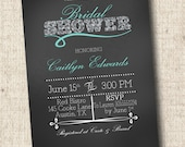 Printable Bridal or Baby Shower Invitation - Whimsical Chalkboard Invite