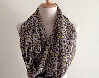 Leopard Print Scarf, Infinity Scarf, Spring Scarves, Women's Scarves, Brown and Yellow