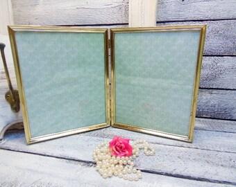Vintage Ornate Double  8x10 Shabby Brass Metal Picture Frame/Wedding Decor/Wedding Frame/Vintage Wedding