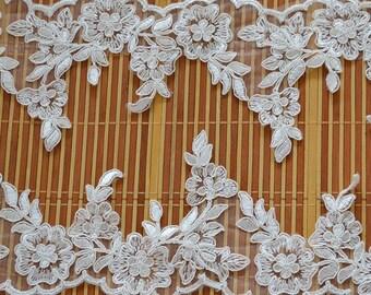 ivory alencon lace trim,wedding veil lace trim , bridal veil lace trim, scalloped lace trim, wedding dress lace