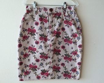 Vintage Flower Beige Denim Skirt