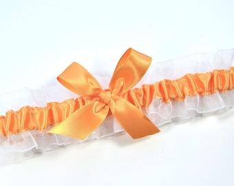 Orange and White Bridal Garter,  Tangerine Wedding garter, Orange Toss Garter