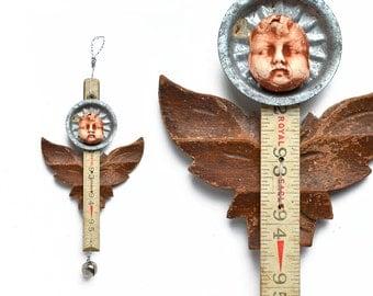 primitive ANGEL art doll / ornament architectural salvage wood original by Elizabeth Rosen
