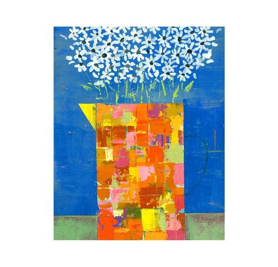 Daisies Daisy painting flowers in a vase impasto 8x10 PRINT   by Elizabeth Rosen