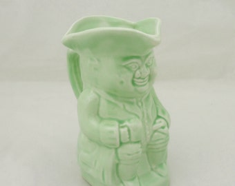 Vintage Toby Jug No 3, Made in England, Toby Pitcher in Pale Green, UK Seller