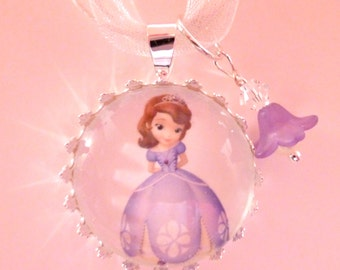 Sophia the First Necklace, Disney Princess Pendant, Childrens Jewelry, Kids Little Girls Glass Jewelry, Granddaughter Niece Christmas  Gift