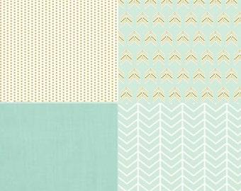 Baby Bedding Crib Bedding Cot Set 2/3 Piece Premium Modern Prints Mint and Gold Arrows Chevron Dots