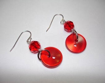 RED EARRINGS - Button Earrings - Dangle Button Earrings - Silver tone findings