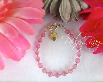 Parley Ray Baby Girls Bracelet Pink Cat Eye Beads and Heart Charm