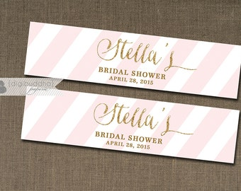 "Blush Pink & Gold Water Bottle Labels Drink Label Gold Glitter Bridal Shower Baby Shower Birthday Party DIY Drink Bottle Labels 8x2""- Stella"