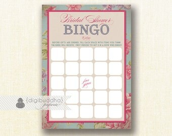 English Rose Shabby Chic Bridal Shower Bingo INSTANT DOWNLOAD 5x7 Pink Floral Modern Shower Game Card DIY Printable or Printed- Jackie