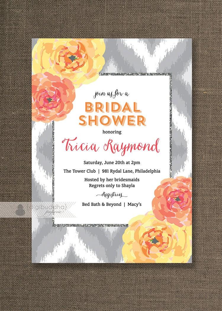 Bridal shower invitation coral bloom ikat orange pink yellow for Yellow bridal shower invitations