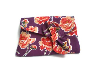 1930's Vintage Inspired Clutch Bag Purple Orange Flowers Roses Floral Purse 1930s Style