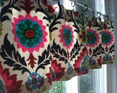 """Window Valance / Cafe Curtain in Bright Floral Print - 50"""" wide X 16"""" long - Ready to Ship"""