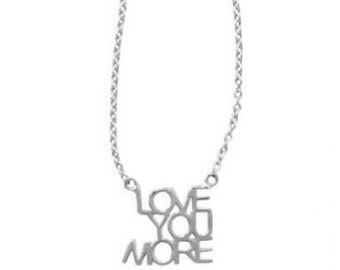Sterling Silver LOVE YOU MORE Inspirational Necklace Pendant 16 18 inch