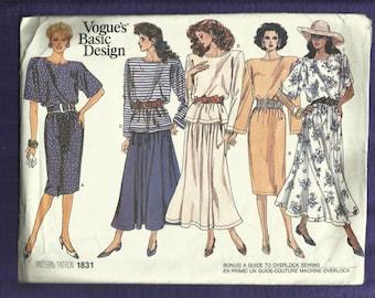 Vintage 1987 Vogue 1831 Retro Tee Shirt Dress  with Strong Shouders Bateau Neck Tee Shirt & Skirt  Sizes 8-10-12 UNCUT