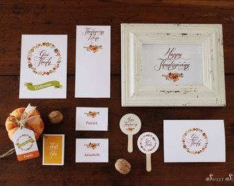 THANKSGIVING Printable Set - Place Cards, Menus, Cupcake Toppers, Gift Tags, Greeting Card