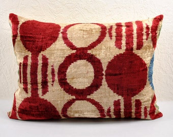 Handmade Velvet Silk Ikat pillow cover LP 4. Bohemian pillow
