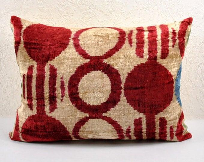 Handmade Velvet Silk Ikat pillow cover LP 4. Bohemian pillow