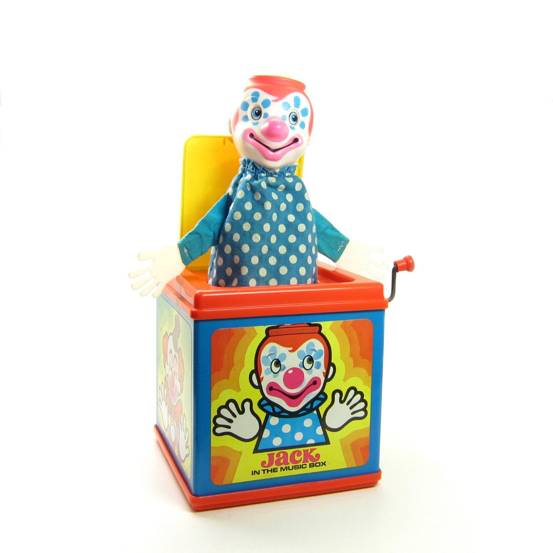 Old Mattel Toys : Jack in the music box vintage wind up toy mattel pop
