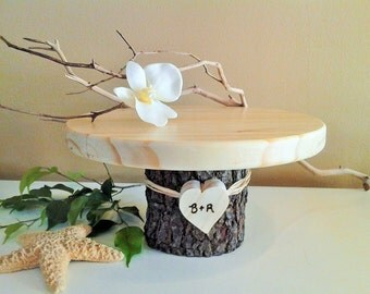 "10"" Rustic wedding cake stand - Personalized cake stand -  Rustic cake stand - Wood cake stand - Tree slices - Rustic wedding decor"