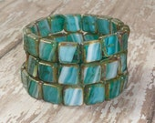 Teal Square Bead 10mm Czech Glass White Picasso Blue ALPINE (10)