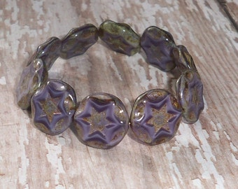 Purple Star Bead 15mm Czech Glass Coin Carved Beveled Picasso SHOOTING STARS (4)
