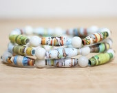 Winnie the Pooh and Tigger Too, Recycled Paper Bead Bracelet, Made From Book pages, Librarian Gift, Teacher Gift, Book Lover