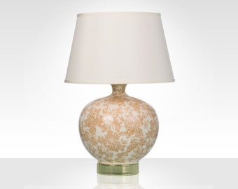 Toile Ceramic Table Lamp with Ivory Shade